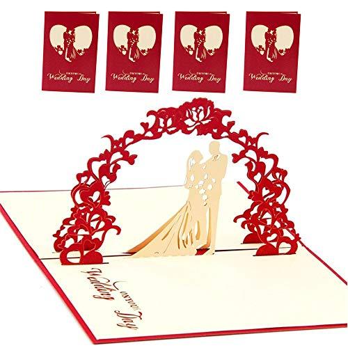 Simuer 3D Pop up Hochzeitskarte Glückwunsch Grußkarten Valentinskarte Weddding Cards Jahrestag Geburtstag Ostern Halloween Mutter Vater New Home NEW YEAR Thanksgiving Weihnachten 4 Pack