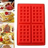 Daorier 1× stampo waffle stampo formine a rettangolo in silicone antiaderente per waffle dolci e baking piccole torte per creare waffle muffin rosso