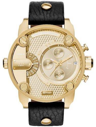 Diesel Herren-Armbanduhr 51,5mm Armband Leder Schwarz Gehäuse Edelstahl Batterie Zifferblatt Gold dz7363