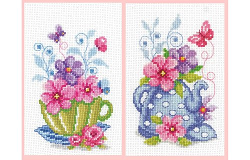 Vervaco Green 2er Set Tea Cup &Blue Teekanne, Motiv Kits (Floral Cross Kit)