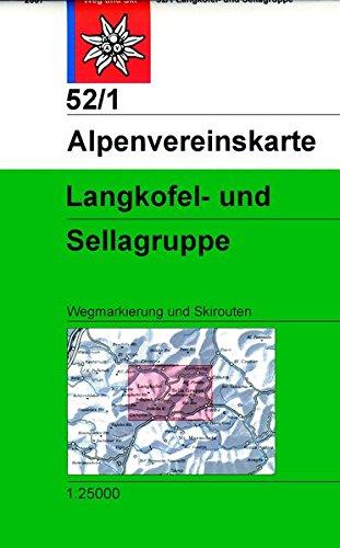 Langkofel- und Sellagruppe: Wegmarkierung und Skirouten - Topographische Karte 1:25000 (Alpenvereinskarten)