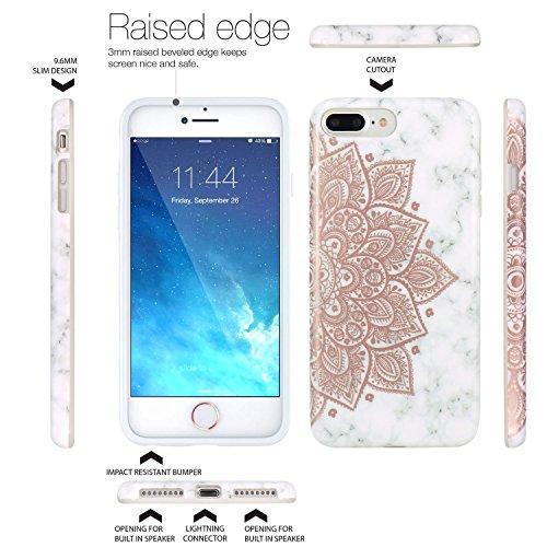 Coque iPhone 7 Plus, Coque iPhone 8 Plus, JIAXIUFEN Silicone TPU Étui Housse Souple Antichoc Protecteur Cover Case - Rose Bleu Marbre Désign Shiny Rose Gold Mandala