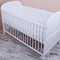 Amilian® - Protector de cabeza para cuna, 420 x 30 cm, 360 x 30 cm, 180 x 30 cm, protector del bordes para bebés, en color blanco