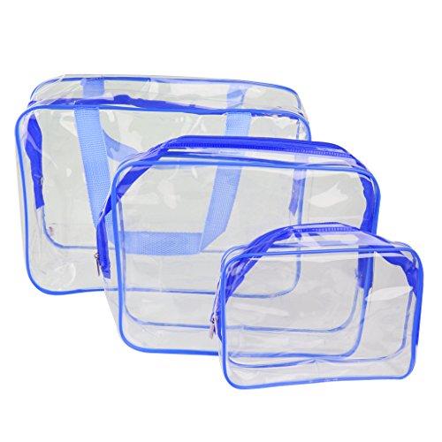 3-en-1 PVC Transparent Sac Fourre-tout Cosmétique Trousse de Toilette Sacs à Main Organisateur (Bleu)