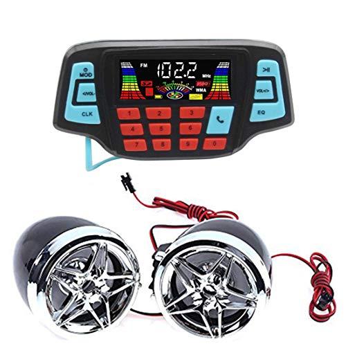 Lookthenbuy Moto Haut-Parleur stéréo Bluetooth Système Audio Radio FM Lecteur MP3