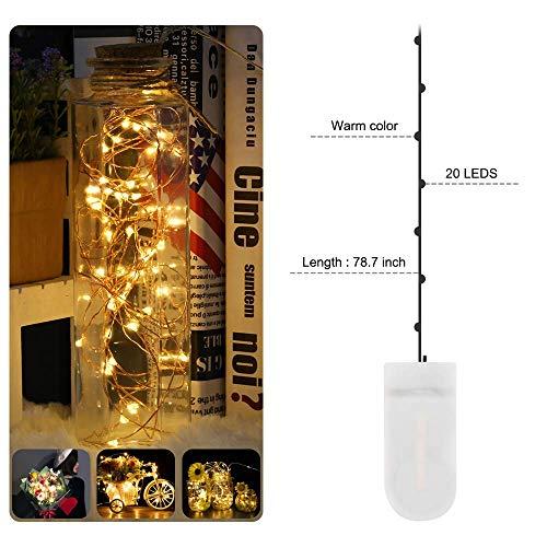 Nasharia Lichterkette Batterie, 10 Stück 2 Meter 20er LED Micro Kupfer Lichterkette IP65 Wasserdicht Warmweiß Dekorative Lichterkette String Beleuchtung Ambiente für Party Garten Hochzeit