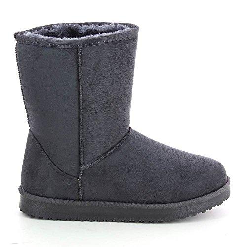 Bottines style boots intérieur fourré Gris