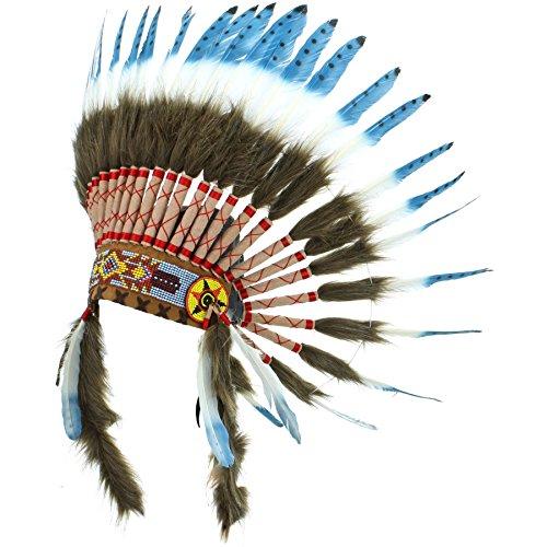 Kostüm Squaw Indianer - Gringo Indianerhäuptling-Kopfschmuck Gr. Einheitsgröße, Blue with black spots