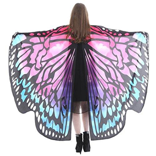 wuayi Cosplay Schmetterlingsflügel Schal Schals Nymphe Pixie Poncho Kostüm Zubehör mit Armband (168*135CM, - Valentine Kostüm Kinder
