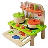 Cucina in legno Set - portatile, 11 pezzi compreso utensili, pentole con coperchi, orologio e condimenti. Gioco di imitazione, Cucina giocattolo in legno con accessori inclusi.