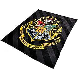 Harry Potter emblema de Hogwarts manta de vellón negro multicolor 200x220cm