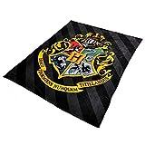 Harry-Potter-Flausch-Decke-Hogwarts-Wappen-200x220cm-Elbenwald-schwarz-gelb