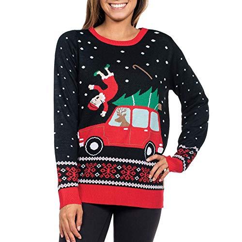 Weihnachtspulli Christmas Sweater Damen Sweatshirt Merry Pullover Christmas Schwangeren Rentier Weihnachten Pulli Elf Von (Color : Schwarz, Size : 2XL)