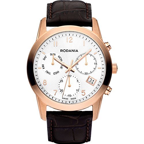 RODANIA 25103–33–Watch For Men, Brown Leather Strap