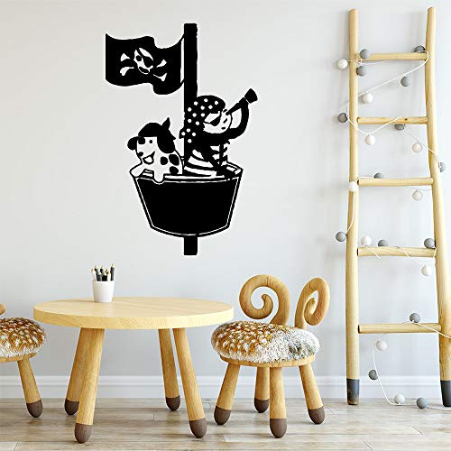 WWYJN Cute And Lovely Boat Art Stickers Waterproof Wall Stickers Wall Stickers Children\'s Room Vinyl Mural Applique Blue L 43cm X 69cm