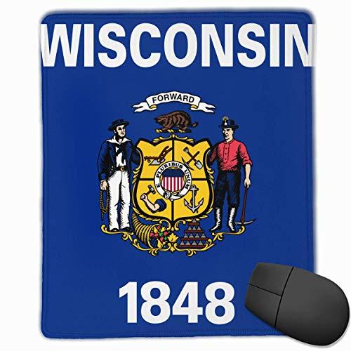 Wisconsin State Flag Seal Qualität Komfortable Game Base Mauspad mit genähten Kanten Größe 11.81 * 9.84 Zoll - Wisconsin State Seal