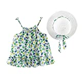 MORETIME 2020 2Pcs Tulle Skirt Toddler Baby Kids Girls Ruched Bow Dot Princess Casual Sleeveless Dress Fisherman Hat Outfits Print Floral Sling Polka Straw Summer Bowknot Dresses Sets New Year Gift