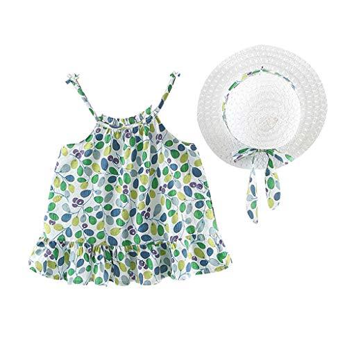 squarex Kinder Kleinkind Baby Mädchen Sleeveless Sling Floral Geraffte Gurt Prinzessin Kleid Freizeitkleidung Hut süß und komfortabel