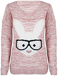 (womens rabbit glasses knitted jumper)(mtc) femmes lapin lunettes tricoté chandail