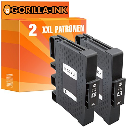 Gorilla-Ink® 2 Gel-Patronen XXL kompatibel für Ricoh GC-41 Black Aficio SG 3110 DN SG 3110 N SG 3110 SFNW SG 3120 B SF SG 3120 B SFN SG 3120 B SFNW SG 7100 DN