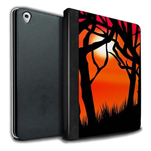 Stuff4® PU-Leder Hülle/Case/Brieftasche für Apple iPad Pro 9.7 Tablet/Gruseligen Wald Muster/Halloween Szene Kollektion (Gruselige Haut Halloween)
