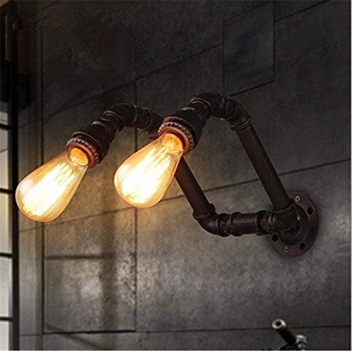 QZX Wand Leuchte Modern Vintage industrielle Retro Loft Kreative rustikalen Bügeleisen Wasserleitungen Wandleuchte 2 Leuchten mit E27 Fassung für Clothing Store Bar Cafe Beleuchtungskörper (Glühlampen nicht enthalten?