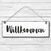 Willkommen - Dekoschild Türschild Wandschild aus Holz 10x30cm - Holzdeko Holzbild Deko Schild zur Dekoration Zuhause im Büro auch perfekt als Geschenk Mitbringsel zum Geburtstag Hochzeit Weihnachten für Familie Freundin Mutter Schwester Tochter