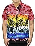 La Leela aloha rouge hawaïen manches courtes caribbean bouton vers ...