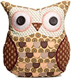 Sass & Belle Applique Owl Cushion - Frank Brown & Beige Floral (With Inner)