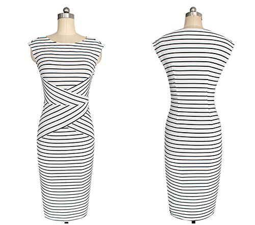 KingField - Robe - Crayon - Sans Manche - Femme Blanc - Blanc