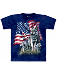 The Mountain Camesita Wolf flag USA Adulto Unisexo