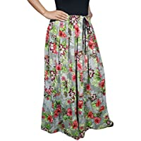 Mogul Interior Ladies Gypsy Grey Maxi Skirt Delilah Floral Printed Grey Long Summer Skirts One Size M/L