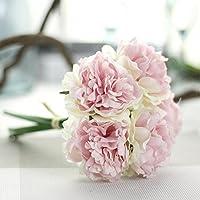 Tefamore Fleurs artificielles en soie Fleurs Fleurs pivoine Bouquet floral Décor nuptiale en hortensia (26cm/10.24, Multicolore-A)