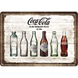 Nostalgic Art 10277 - Placa metálica decorativa, diseño Coca-Cola Bottle Timeline, 10 x 14 cm