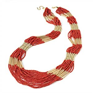 Ladies Well-designed Classy Coral Colour Seed Bead Necklace Brand New