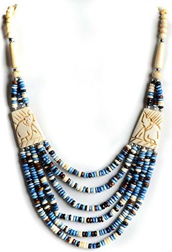 Buddhistische Halskette blauweiße Perlen mit Elefanten - Ethno-Schmuck