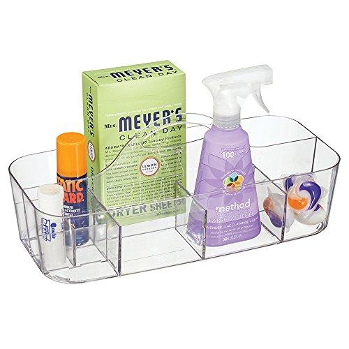 Mdesign portadetersivi in plastica trasparente - contenitori per detersivi ideali per il bucato - portaoggetti con 4 vani