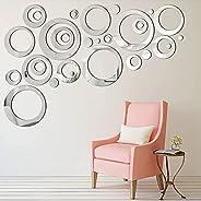 ملصق مراة للحائط قابل للازالة من اربست، 24 قطعة دائرية من الاكريليك لغرفة المعيشة وغرفة النوم وخلفية التلفزيون