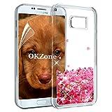 OKZone Galaxy S7 Edge Hülle Glitzer, Luxus Fließen Flüssig Glitzer Bling Dynamisch Durchsichtig TPU Silikon Kreativ Glanz Schutzülle Schale Etui Tasche für Samsung Galaxy S7 Edge (Rotes Herz)