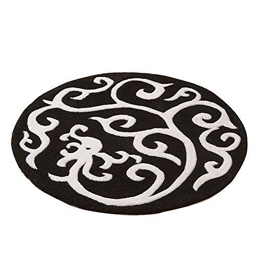 Everyday home Tapis de sol acryliques ronds européens/salon minimaliste table basse chambre chevet tapis tapis (Couleur : Noir, taille : 120cm)