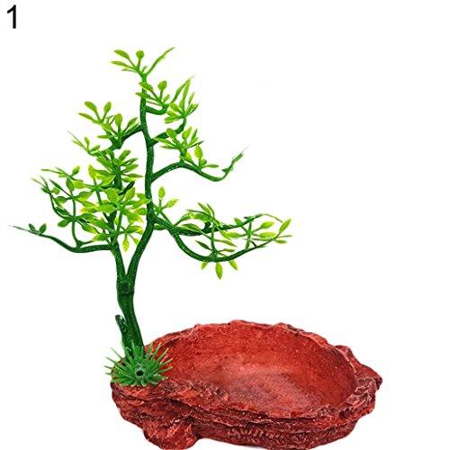 KaariFirefly Kunstharz Baum Reptilien Wasser Lebensmittel Halter Futternapf Terrarium Landschaft Decor–1#