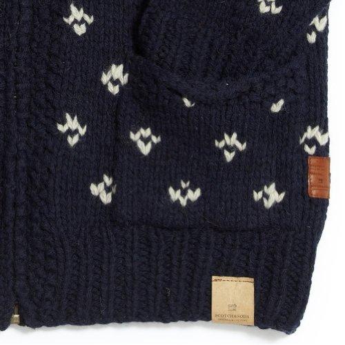 Scotch & Soda Intarsia Heavy Knit Shawl Neck Cardigan with Lining Option C, Navy