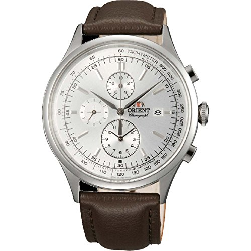 Orient FTT0V004W0 42.6mm Stainless Steel Case Brown Calfskin Mineral Men's Watch