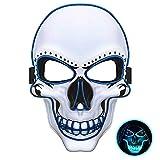 JuguHoovi LED Masken Halloween Purge Maske, Leuchten Scary Death Skull Maske mit 3 Blitzmodi für...