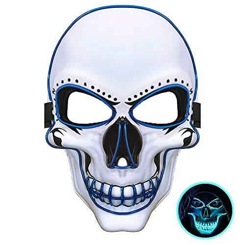 Brille Scary Kostüm Mit - JuguHoovi LED Masken Halloween Purge Maske, Leuchten Scary Death Skull Maske mit 3 Blitzmodi für Halloween Fasching Karneval Party Kostüm Cosplay Dekoration