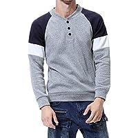 Hanomes Herren Pullover,Herren Herbst Winter Casual Patchwork Pullover Lose Sweatshirt Knopf Revers Tops Sweater preisvergleich bei billige-tabletten.eu