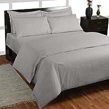 Homescapes Sábana bajera ajustable 100% algodón egipcio 200 hilos Profundidad 46 cm Color Especial colchon grueso Gris 180 x 200 cm