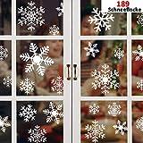 FHzytg 189 Fensterbilder Weihnachten Selbstklebend, Weihnachts Fensterdeko, Fensterbilder Schneeflocken, Weihnachten Fensterbilder, Winter fensterbilder für Türen, Schaufenster, Vitrinen, Glasfronten