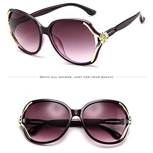 Zilosconcy Sonnenbrillen Rose Big Frame Sonnenbrille Brille Sonnenbrille Lila Mens Womens Rose Big Frame Retro Vintage Sonnenbrillen ()