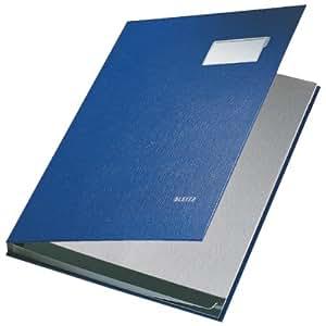 LEITZ - Parapheur, revêtement PP, 10 xompartiments, bleu feuillets intérieurs en papier buvard gris